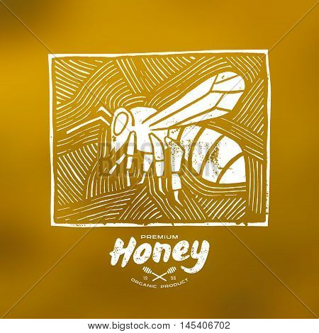 Stock vector linocut with a picture of bee and honey label. White print on blurred background