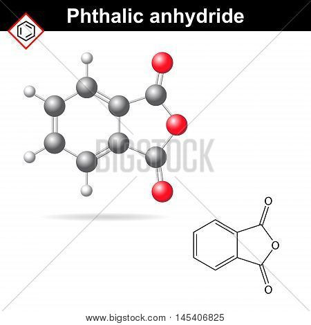 Phthalic anhydride molecule 2d and 3d illustration isolated on white background vector formula and model eps 8