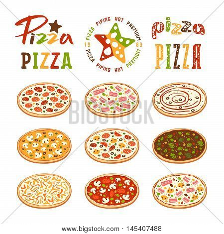 Stock Vector Illustration Of Pizza Varieties