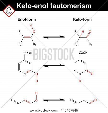 Keto-enol tautomerism reaction examples with marked variable fragments 2d vector illustration on white background eps 8