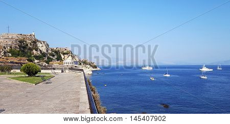 View Of The Old Venetian  Fortress At Corfu Island In Greece