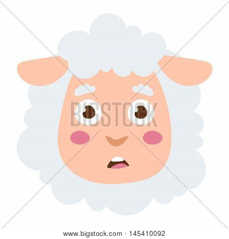 Cute animal lamb sheep head emotion vector avatar. Cartoon happy lamb sheep animal emotion expression isolated face character. Adorable emojji avatar animal emotions. Animal lamb sheep character