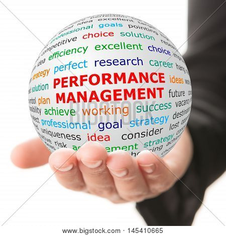 Coach concept. Hand take white ball with wordcloud and Performance management words in red color.