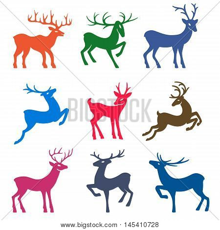 Nine colored deer set silhouettes isolated on white background design for Xmas cards banners and flyers vector illustration isolated on white background