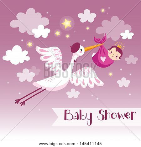 Baby girl shower invitation card with stork.