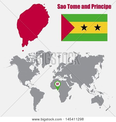 Sao Tome and Principe map on a world map with flag and map pointer. Vector illustration