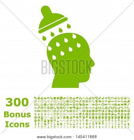 Brain Washing icon with 300 bonus icons. Glyph illustration style is flat iconic symbols, eco green color, white background.