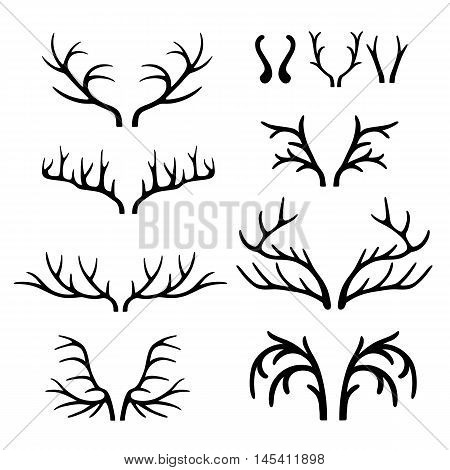 Deer antlers black silhouettes set vector isolated on white background