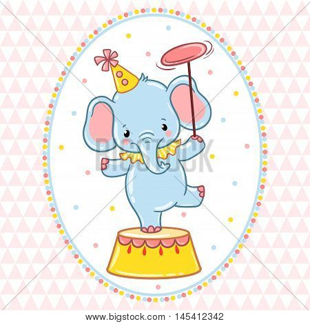 A circus elephant standing on a circus tub. Vector illustration.