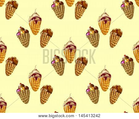 Seamless pattern with chocolate, vanilla, strawberry and caramel ice creams. Tasty sweet desserts with chocolate and caramel
