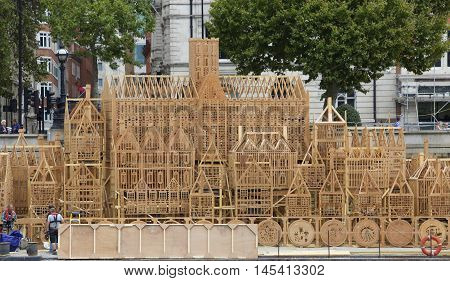 Timber built structure to commemorate 350 years since the great fire of London in 1666 - London, UK - 2nd September 2016
