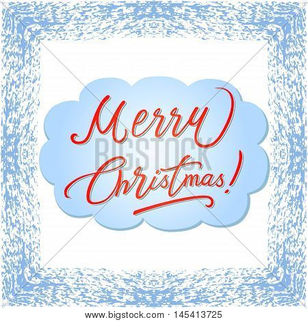 Xmas colored square shape blizzard frame calligraphy card isolated on light background vector illustration