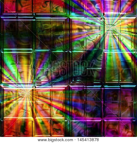 Abstract background of glass squares with spectral rays. Dark stained window with colorful rays