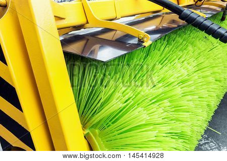 Street Sweeper Broom street sweeper. focus on Sweeper Broom