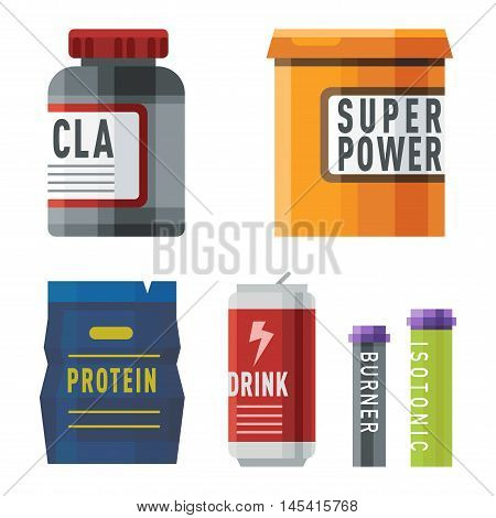 Sports nutrition food icons in flat style detailed vector illustration. Sports food nutrition healthy food and sports nutrition fitness diet. Sports nutrition food bodybuilding proteine power drink
