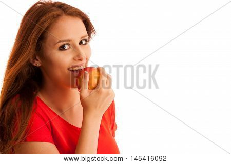 Woman Eating Red Apple Isolated Over White Backgoround