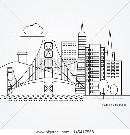 Linear illustration of San Francisco, USA. Flat one line style. Trendy vector illustration, Greatest landmark - Golden Gate bridge.