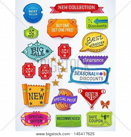 Colored set of promotional sales english text labels signs stickers. Image contains gradients blends and gradient meshes