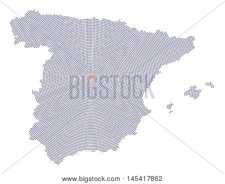 Spain map radial dot pattern. Blue dots going from the red dotted capital Madrid outwards and form the country silhouette with the islands Ibiza, Mallorca and Menorca. Illustration on white background