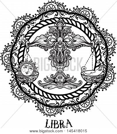 Detailed Libra in aztec filigree line art zentangle style. Tattoo coloring page for adult. T-shirt design. Zodiac Libra tribal decorative wool pattern. Vector