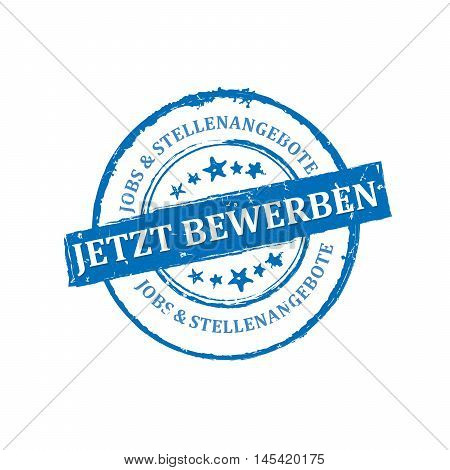 Apply Now, Job Offers (Text in German language: Jetzt Bewerben, Jobs & Stellenangebote) - stamp / icon / ribbon for recruitment companies and agencies from Germany, Austria. Print colors used