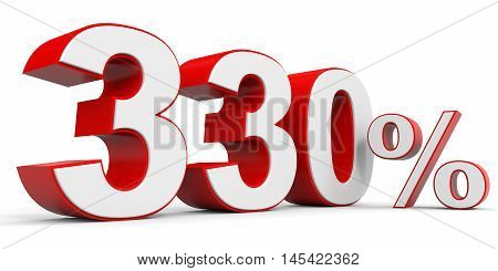 Discount 330 percent off on white background. 3D illustration.