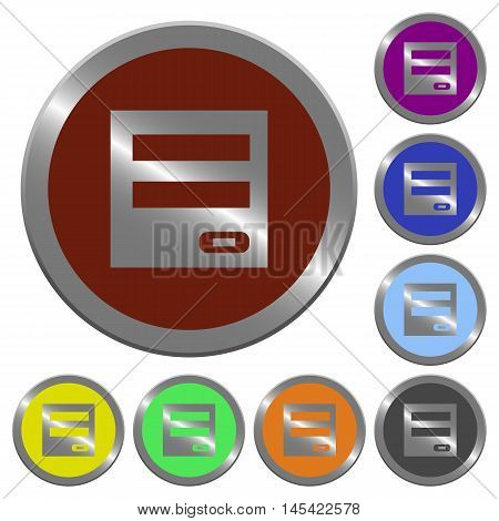 Set of color glossy coin-like login panel buttons