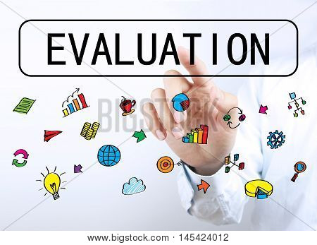 Businessman Touching Evaluation Button