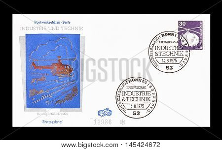 GERMANY - CIRCA 1975 : Cancelled First Day Cover letter printed by Germany, that shows Helicopter.