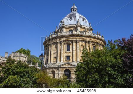 A view of the magnificent architecture of Radcliffe Camera designed by James Gibbs - the building is part of Oxford University.