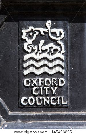 OXFORD UK - AUGUST 12TH 2016: A close-up of the Oxford City Council emblem in Oxford on 12th August 2016.