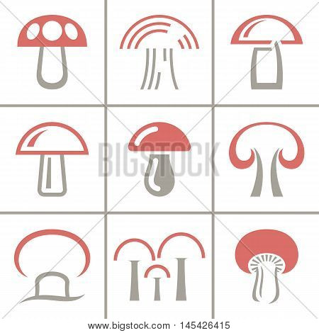 Vector mushroom icon, logo set. Modern icon, emblems for eco shop, market, restaurant, internet design