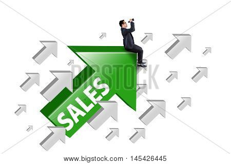 Picture of businessman sitting on the rising arrow with sales word and using binocular isolated on white background