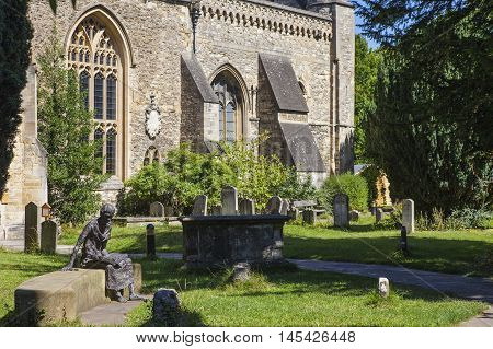 A statue of Saint Edmund in the churchyard of St. Peter in the East church in Oxford England.