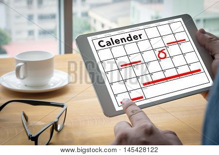 Calender Planner Organization Management Remind Warm tone man use computer