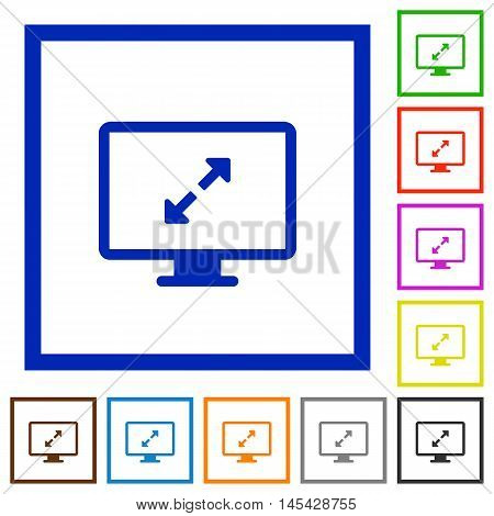 Set of color square framed screen resolution flat icons