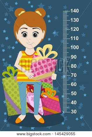 Cute Girl With Gifts Meter Wall From 30 To 140 Centimeter. Vector