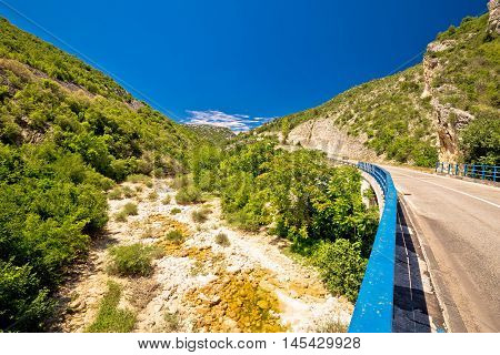 Cikola river canyon and bridge inland Dalmatia Croatia
