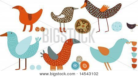 orange-blue birds vector set