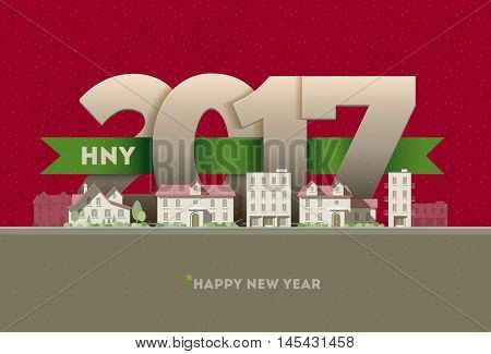 2017 Happy New Year in town. Vector greeting card design element.