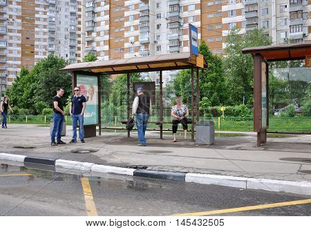 MOSCOW, RUSSIA - 05.292015 A People waiting for the bus in Mitino