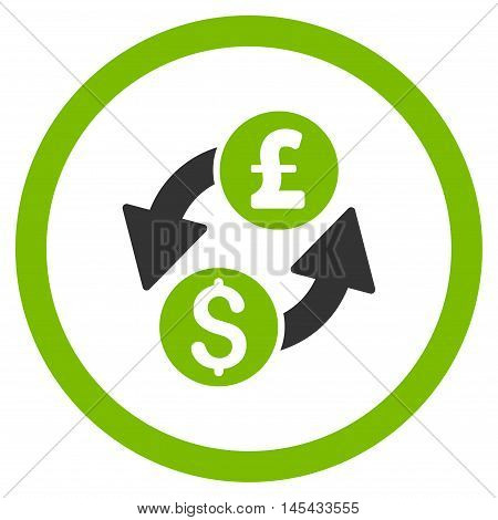 Dollar Pound Exchange rounded icon. Vector illustration style is flat iconic bicolor symbol, eco green and gray colors, white background.