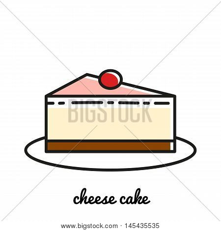 Line art cheese cake icon. Isolated vector illustrations. Infographic elements