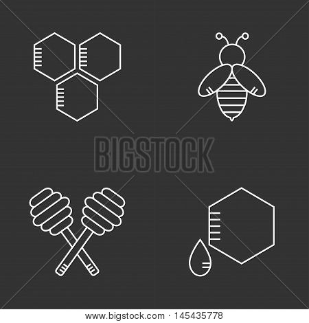 Beekeeping isolated icons on background. Apiary set. Apiculture. Honey bee, spoon. Organic bee farm logo Flat line style vector illustration.