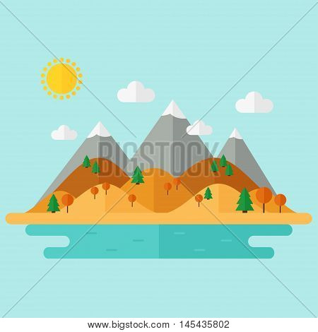 Landscape. Autumn nature landscape with mountains, hills. river and trees on background. Flat style vector illustration.