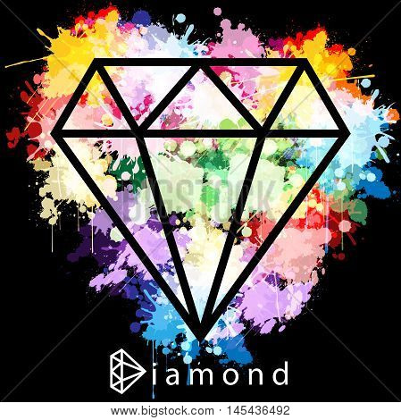 Illustration colorful diamond and ink as the background.