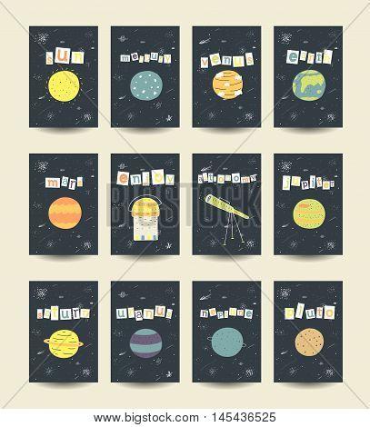 Cute hand drawn doodle cards brochures with comic objects planets including sun mercury venius earth mars jupiter saturn uranus neptune pluto stars galaxy comet milky way telescope