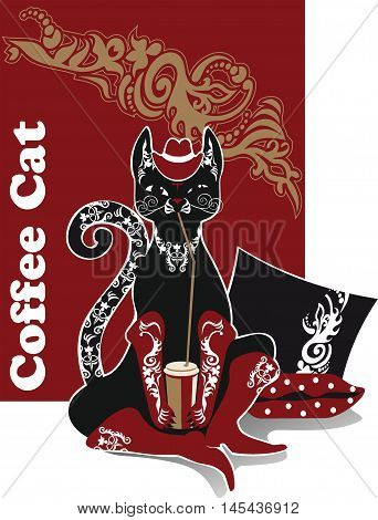 Black Cat in red boots coffee drinker