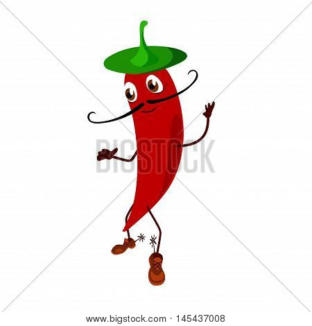 Pepper cartoon character wearing a hat. On the feet of pepper is boots with spurs.