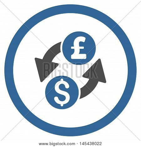 Dollar Pound Exchange rounded icon. Vector illustration style is flat iconic bicolor symbol, cobalt and gray colors, white background.
